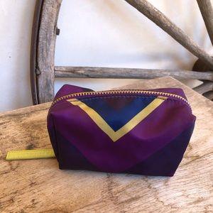 SONIA KASHUK Nylon Cosmetic Zip Bag Leather Pull